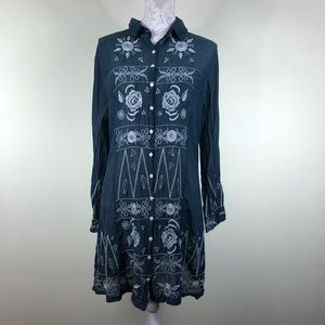 Johnny was 3J workshop embroidered button up dress